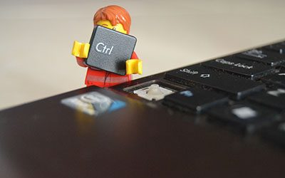 Lego guy with keyboard key